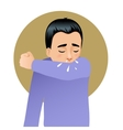 Boy sneezing in elbow image vector image vector image