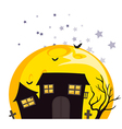 Bats near the scary haunted house vector image