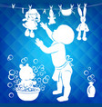silhouette baby wipes toys vector image