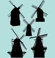 windmill silhouettes vector image vector image
