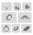 monochrome set with jewelry icons vector image