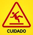 Yellow and red cuidado symbol vector image vector image