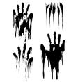 Black handprint set isolated on white vector image