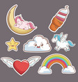 kawaii cloud heart wings unicorn ice cream moon vector image