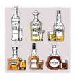 set of bottles with alcohol and stemware vector image