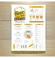 Vintage beer menu design vector image