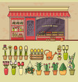 flower shop and set of cute various flower icons vector image