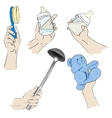 Realistic womans hands with baby related objets vector image vector image