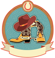 cowboy boots and hat label vector image