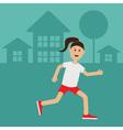 Funny cartoon running girl Cute run woman Night vector image