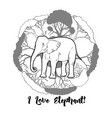 elephant and savanna trees print vector image