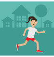 Funny cartoon running girl Cute run woman Night vector image