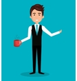 man cartoon holding cup coffee isolated vector image