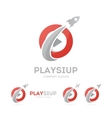 Rocket and play button logo combination vector image