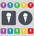 Ice Cream icon sign A set of 12 colored buttons vector image