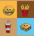 kawaii set fast food icon adorable expression vector image
