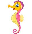 Cartoon watercolor Seahorse with happy face vector image