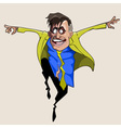cartoon man in suit and tie jumping with joy vector image