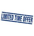 square grunge blue limited time offer stamp vector image
