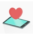 Mobile phone with red heart like icon vector image