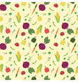 Cartoon vegetables seamless pattern vector image