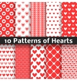 Heart shape seamless patterns Red color vector image