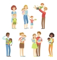 Happy Families With Small Children vector image