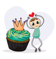 A boy dancing beside a cupcake vector image