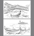 hand drawn rialto bridge and lido island venice vector image