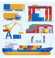 Sea Port Elements Collection vector image
