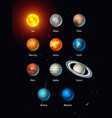 set of solar system objects sun moon vector image