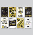 valentines day hand drawn greeting cards designs vector image
