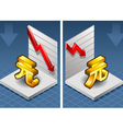 isometric yuan renminbi with red arrow down vector image vector image