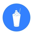 Milkshake with cherry on the top icon in black vector image