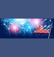 american flag with fireworks vector image vector image