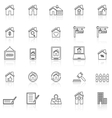 Real estate line icons with reflect on white vector image