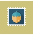 Nut flat stamp with long shadow vector image