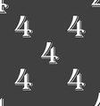 number four icon sign Seamless pattern on a gray vector image