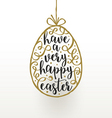 Easter greeting card hanging easter egg with vector image