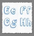sketch 3d alphabet letters - EFGH vector image vector image