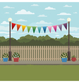 countryside scene with bunting vector image
