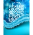 Bag for shopping with snowflakes on blue EPS 8 vector image