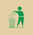 man throw rubbish in bin recycle utilization logo vector image