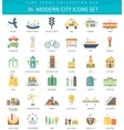 Modern City color flat icon set Elegant vector image