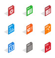 Program file icons isometric 3d style vector image