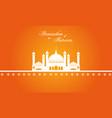 ramadan kareem with mosque greeting card vector image