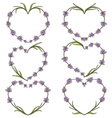 Set of heart of flowers of lavender vector image