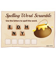 Spelling word scrable game with word honey vector image