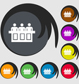 Conference icon sign Symbols on eight colored vector image