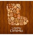 Christmas sock symbol composed of gingerbread vector image